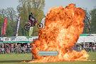 motorbike jump fire flame Stannage stunt team