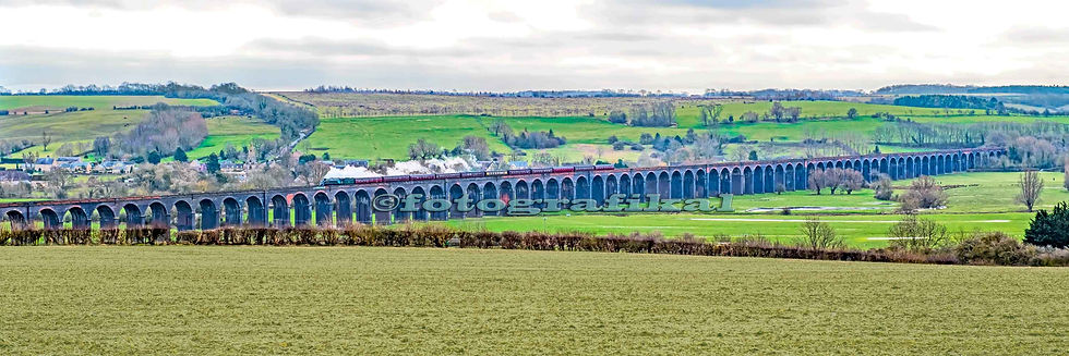 Union of South Africa A4 Pacific Steam Locomotive Train Harringworth Viaduct Greasley