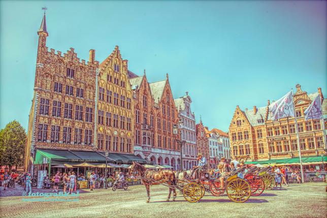 Bruges Market Square. Markt. Horse & Carriage