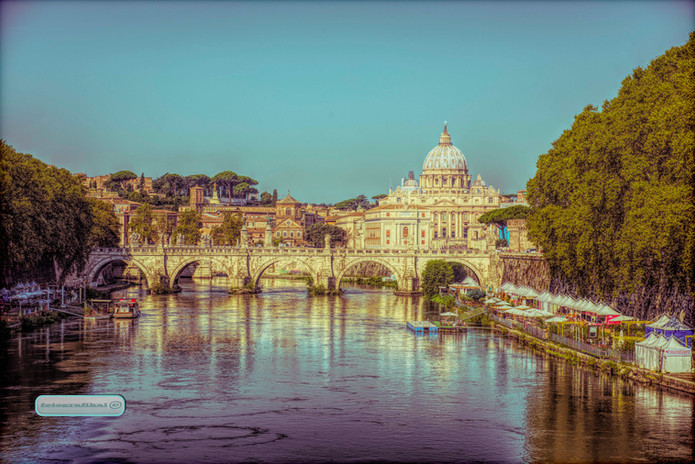 Saint Peters Basillica from The River Tiber Rome