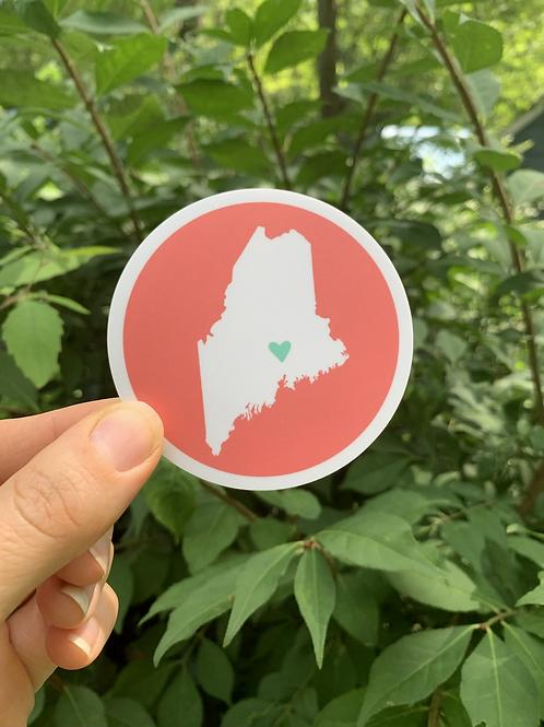 w Round Maine Sticker