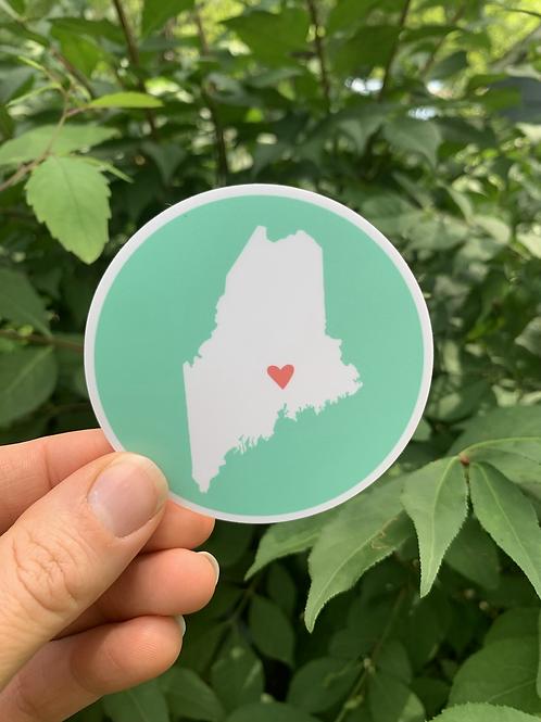 Round Maine Sticker