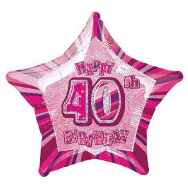 "Balloon Foil 18"" Happy Birthday 40 Pink"