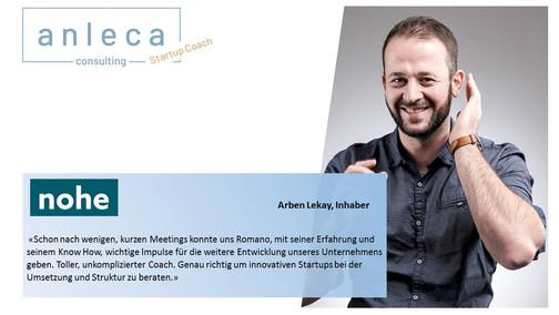 """Neues Produkt """"anleca.ch Startup Coach"""""""