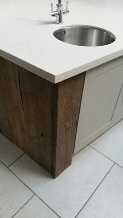 Reclaimed wood on kitchen island