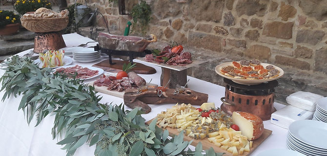 Tuscan aperitif buffet in a wedding day