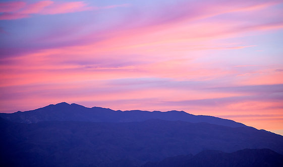 Sunrise Pastel Colored Sunrise with Mountains Photography Art Print
