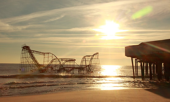 Seaside Heights New Jersey roller coaster in Atlantic Ocean after Hurricane Sandy Photography Art Print