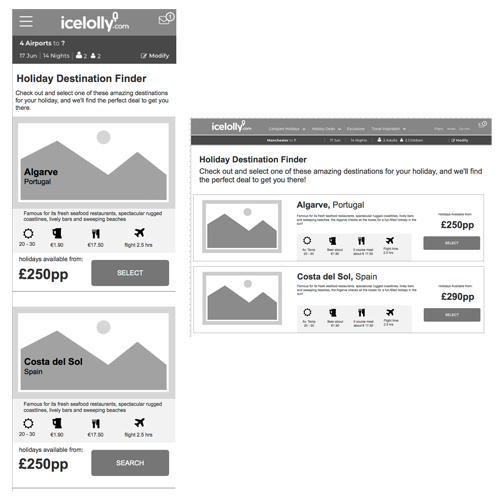 Holiday Destination Finder wireframes version 1