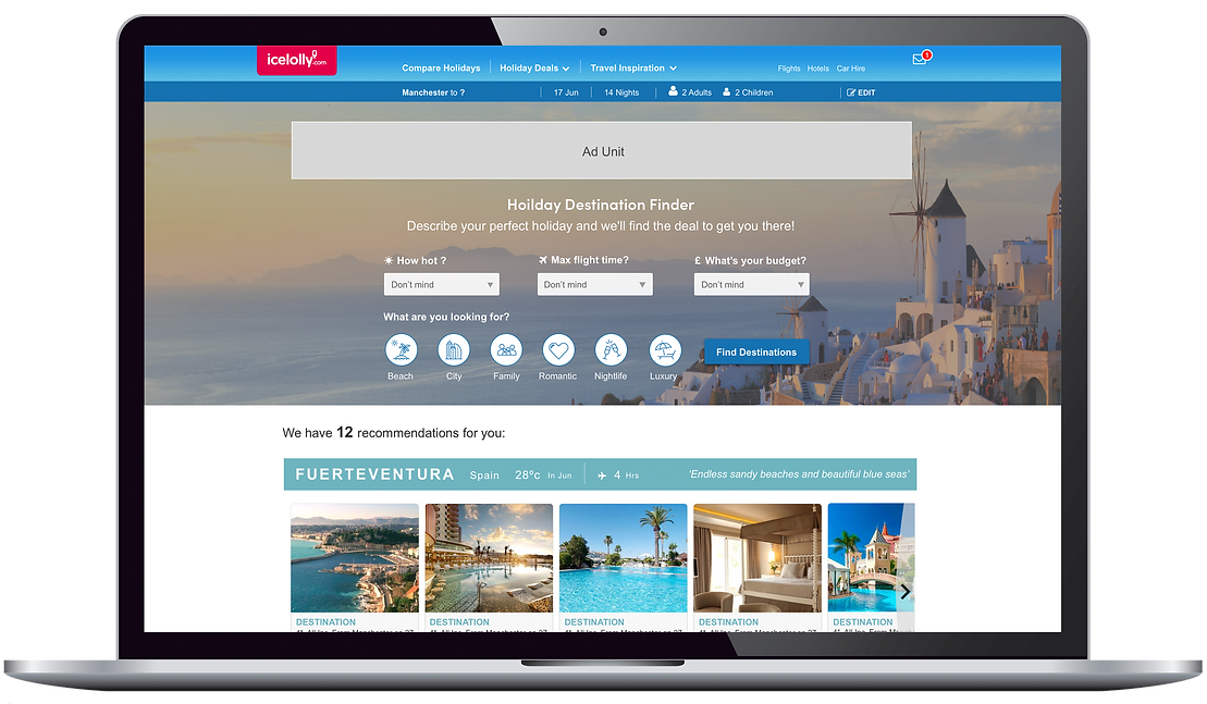 Holiday Destination Finder Laptop UI Design