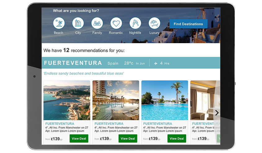 Holiday Destination Finder Tablet UI Design