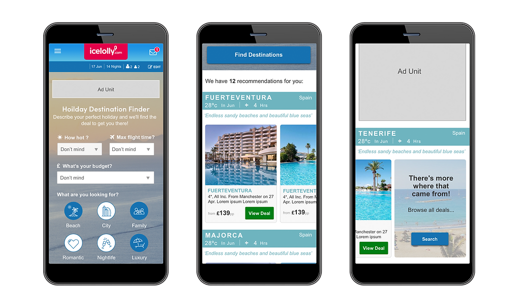 Holiday Destination Finder UI Design