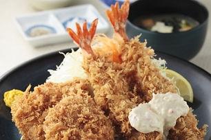 ヒレと海老フライの相盛り定食