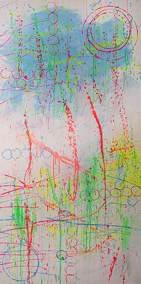 Bright colorful neon abstract splatter painting