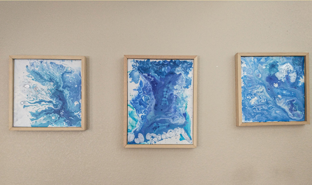 Art for interior designers, blues an white abstract art for sale in Denver COlorado.