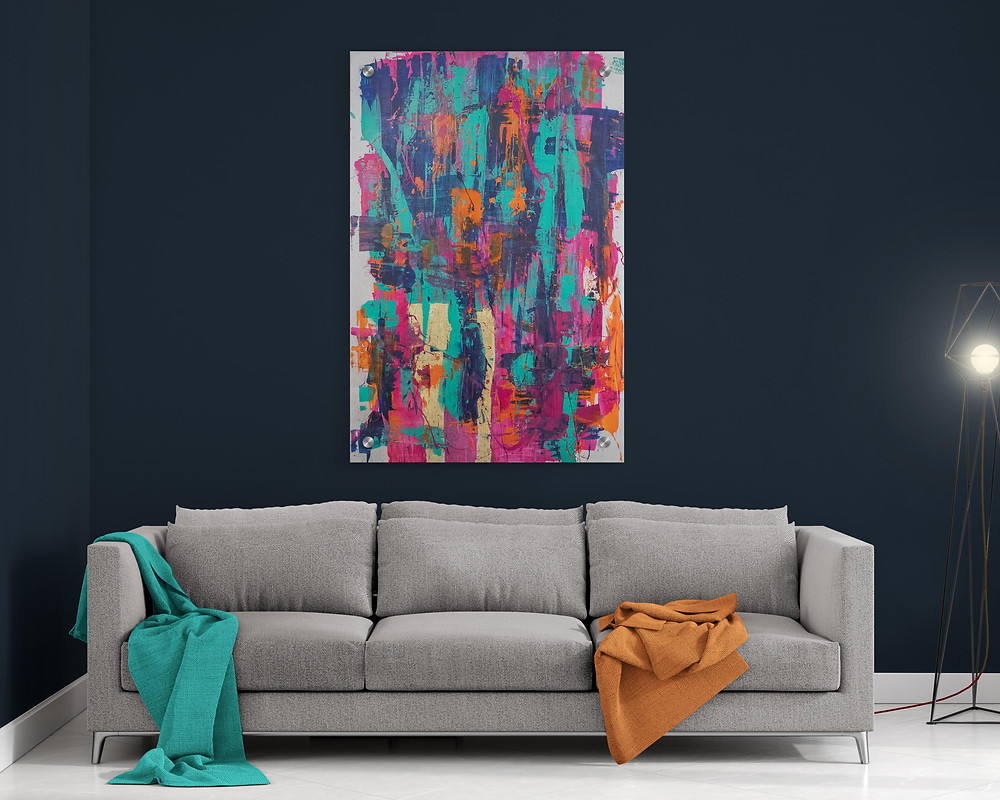 Oversized bright bold.  abstract art. Art therapy, give the gift of art, love, friendship, handmade, homemade, small business, artist, Denver Artist, buy art, interior design, wall art, hipster, RiNo Art District, therapeutic arts, gifts, spring, personalized, custom