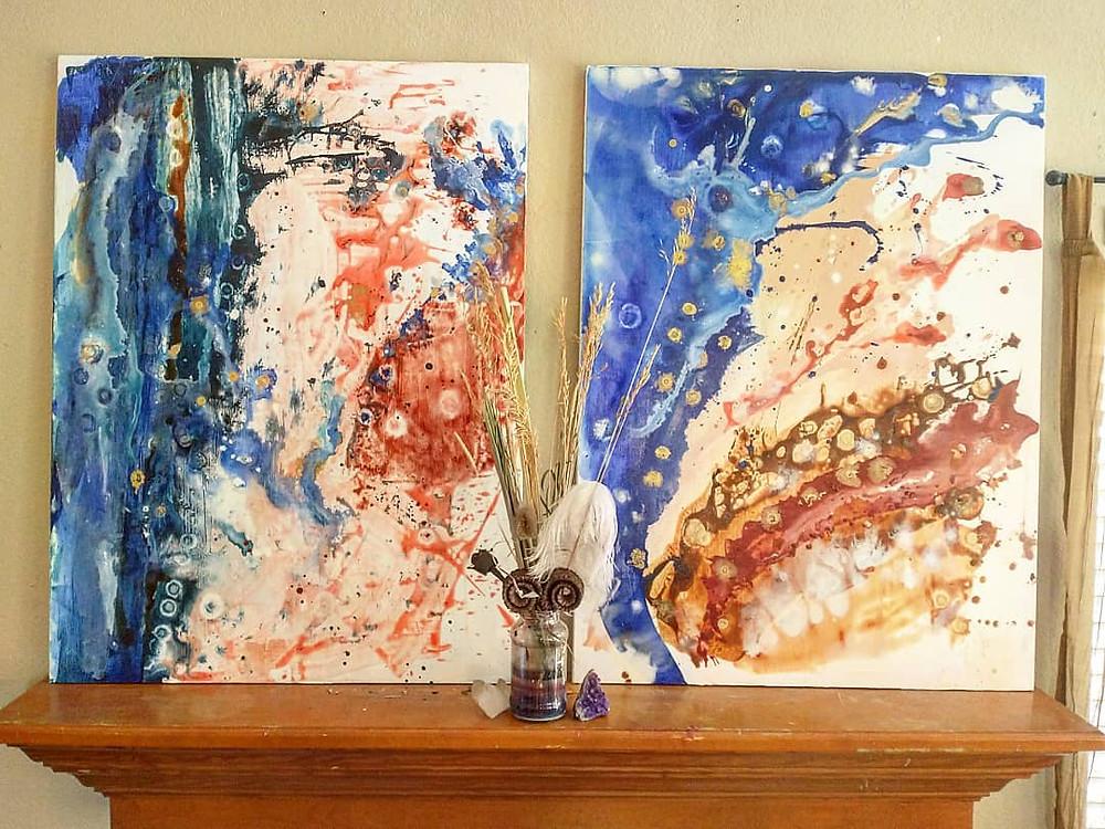 Abstract art, Denver Artist, Ocean, Beach, Landforms, Natural, Gold