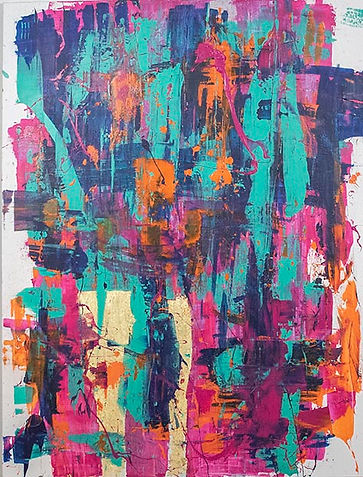 Large format bold abstract painting in magenta and teal
