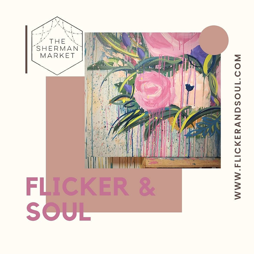 Abstract flowers painting, art market, makers market, Colorado