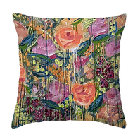 English garden inspired abstract flower painting on home decor and pillows