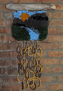 hand woven wall art with abstract seramic designs in Denver Colorado