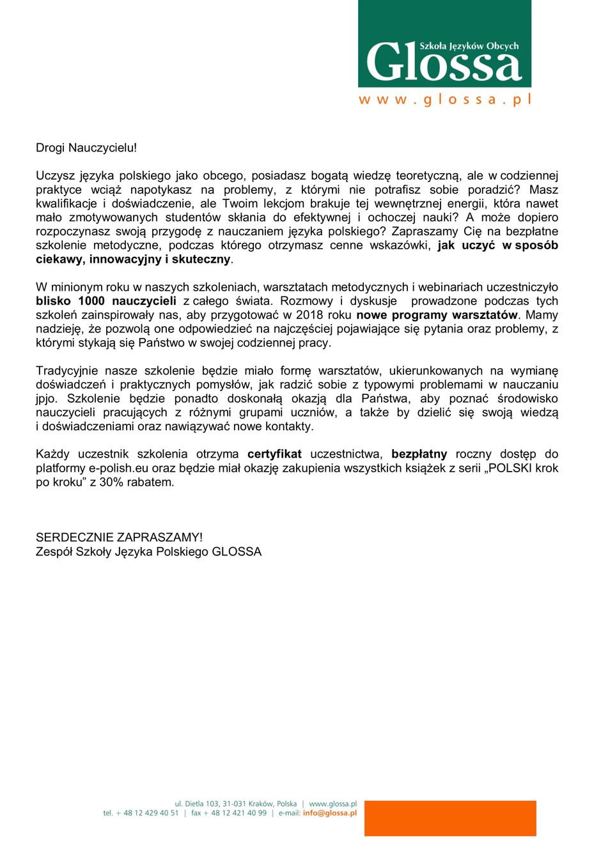 Warsztaty metodyczne dla nauczycieli polonijnych