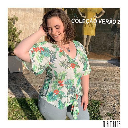 Blusa Floral Nó Barra