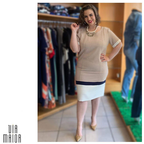Vestido Linho Barra Bicolor