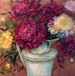 Ruby and White Peonies in French Jug