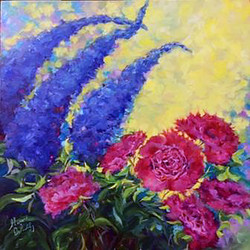 Carnations and Delphiniums