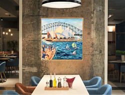 Sails on Sydney Harbour, Framed
