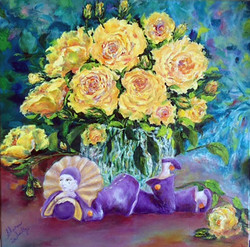 SOLD Pierrot With Yellow Roses