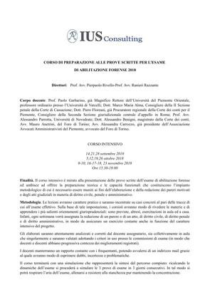 Corso di preparazione alle prove scritte per l'esame di abilitazione forense 2018 - settembre/no