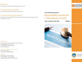 """Corso di Perfezionamento in """"Responsabilità, risarcimento e assicurazione in sanità""""  A.A. 2017 – 20"""