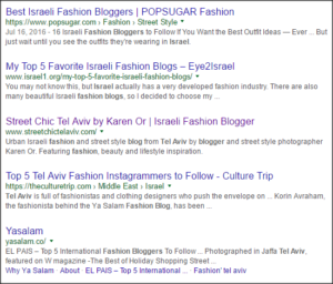 "SERP results for ""fashion bloggers in Tel Aviv."""