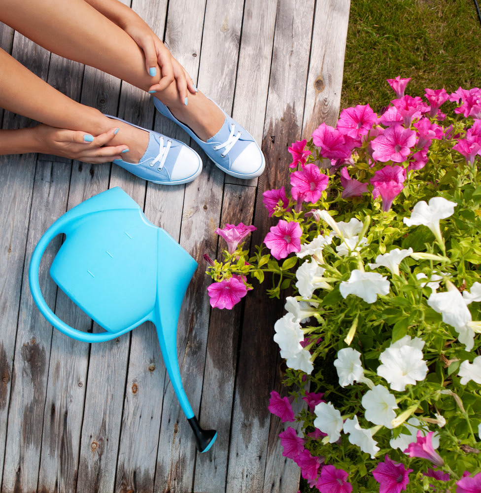 Woman's feet with cool blue sneakers, blue watering pail, beautiful flowers.