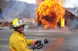 Firefighter Corey Day at training