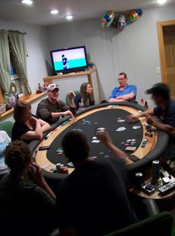 Egg Shaped Red Oak Poker Table