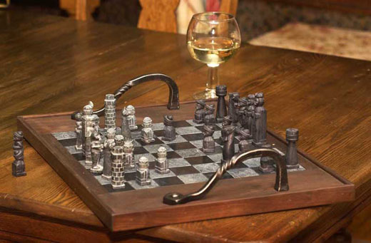 Walnut and Slate Chessboard