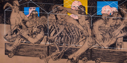Madness Train lll, 2017, Charcoal, oil & spray paint on kraft paper mounted on canvas, 200 x 400 cm (diptych)