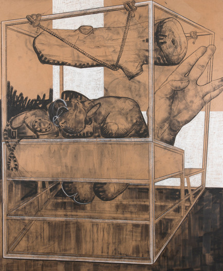Untitled, 2016, Charcoal & soft pastel on kraft paper mounted on canvas, 170 x 140 cm