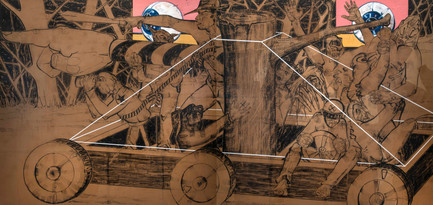Madness Train lV, 2018, Charcoal, oil & spray paint on kraft paper mounted on canvas, 190 x 400 cm (diptych)