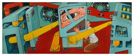 Man adoring power, 2013, Oil on canvas, 200 x 500 cm (diptych)