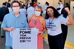 Representante da Aduems integra ato pela renda básica em Campo Grande