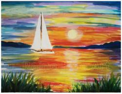 (C) sailboat sunset