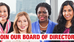 NOW OPEN: Board of Directors