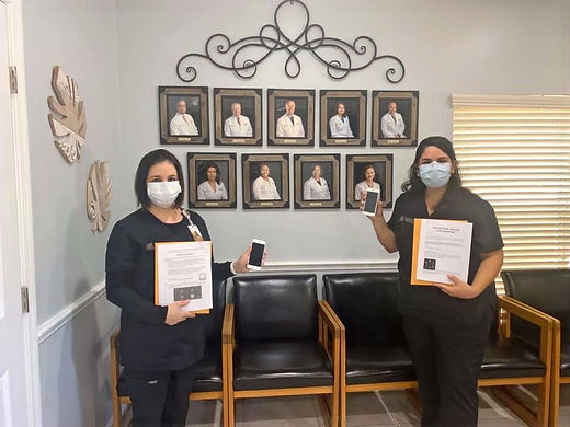 Here are some of the office staff at Pulmonary Practice Associates in Lake Mary, FL, holding up donated devices with guides!