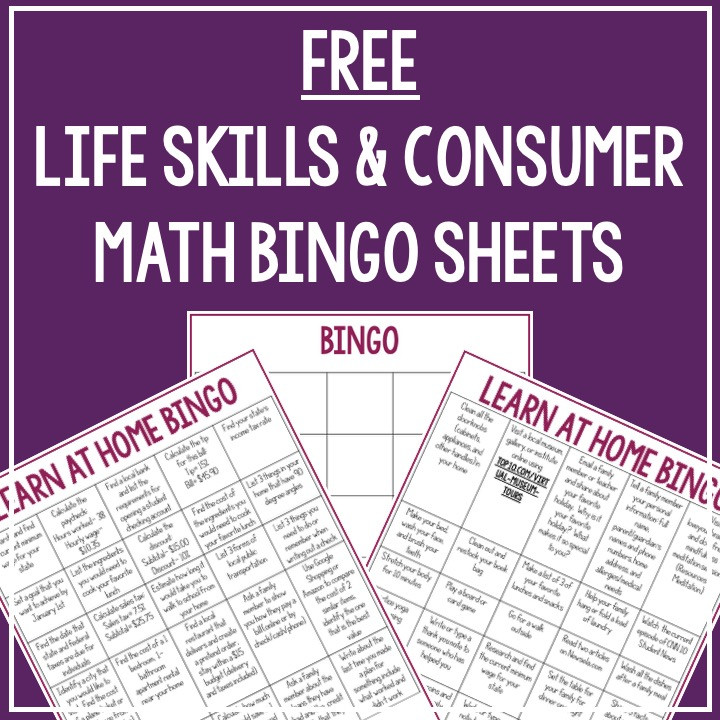 Purple graphic with sample bingo sheets