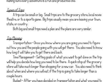 How to Teach Trip Planning