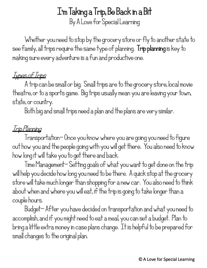 1 page narrative about planning a trip
